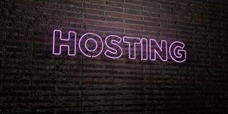 HOSPEDAR - sinal de néon realístico no fundo da parede de tijolo - 3D rendeu a imagem conservada em estoque livre dos direitos ilustração stock