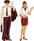 Hospedeiros de bordo e piloto Fotos de Stock Royalty Free
