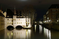 Hospice of the Holy Spirit in Nuremberg. NUREMBERG, GERMANY - DECEMBER 02, 2015: Hospice of the Holy Spirit at night, one of the main landmarks of Nuremberg Royalty Free Stock Images