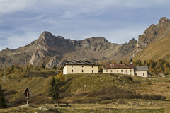 Hospice San Bartolomeo. Historic inn for hikers and travelers on the Tonale Pass Stock Photos