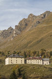Hospice San Bartolomeo. Historic inn for hikers and travelers on the Tonale Pass Stock Photo
