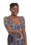 Hospitable african woman with traditional clothes Stock Images