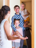 Hospitable householder meeting expected guests Royalty Free Stock Photography