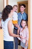 Hospitable householder meeting expected guests Royalty Free Stock Photos