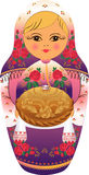 Hospitable nested doll with loaf (vector)  Royalty Free Stock Image