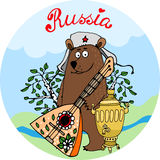 Hospitable Russian bear with a balalaika. And samovar urn standing in rural countryside with a river to welcome guests and tourists  vector cartoon illustration Stock Photos