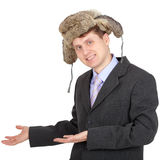 Hospitable russian businessman in fur hat Royalty Free Stock Photo