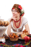 Hospitable russian woman Stock Images