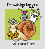 Hospitable snail. Snail waiting guests with kettle, tea cups and bagels Stock Image