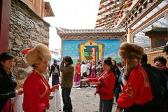 Shangri-La. The hospitable Tibetans entertain guests at the home hall in the event of a major festival. It is now the Tibetan people taking it as the Hotel Royalty Free Stock Images