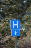 Hospital. Direction sign in middle of the forest pointing towards the sky stock photos