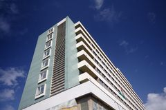 Hospital. Modern hospital outside with beautiful blue sky Stock Photography