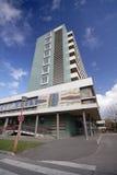 Hospital. Modern hospital outside with beautiful blue sky Stock Photo