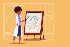 Hospital afro-americano fêmea do trabalhador das clínicas do doutor Cardiologista Over Flip Chart With Heart Medical Imagens de Stock