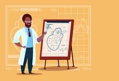 Hospital afroamericano del trabajador de las clínicas del doctor Cardiologist Over Flip Chart With Heart Medical Imagen de archivo