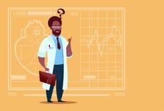 Hospital afroamericano del trabajador de las clínicas del doctor Confused Thinking Medical ilustración del vector