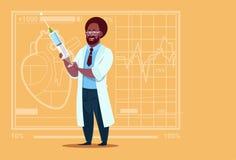 Hospital afroamericano del trabajador de las clínicas del doctor Holding Syringe Medical stock de ilustración