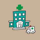 Hospital and ambulance. Emergency health care Stock Images