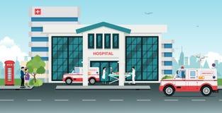Hospital. Ambulances took the injured to the hospital royalty free illustration
