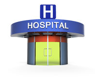 Hospital as a metaphor. Main entrance to the hospital on white background Royalty Free Stock Photography