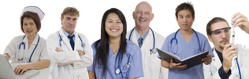 Hospital banner with Doctors and staff. Group of Doctors and Nurses standing with white background to be used as banner Stock Photos