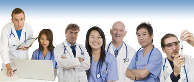 Hospital banner with Doctors and staff. Group of Doctors and Nurses standing with white background to be used as banner Stock Image