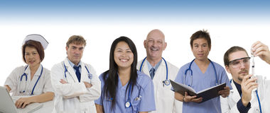 Hospital banner with Doctors and staff. Group of Doctors and Nurses standing with white background to be used as banner Stock Images