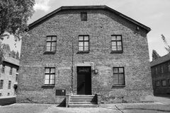 Hospital barrack at Auschwitz concentration camp. OSWIECIM, POLAND - JULY 23: Hospital barrack at Auschwitz concentration camp on July 23, 2011 in Oswiecim Stock Photography