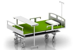 Hospital bed. 3d multi use hospital bed in abstract white background Royalty Free Stock Images