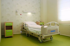 Hospital bed. A hospital bed waiting the next patient Royalty Free Stock Image