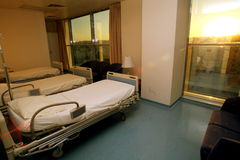 Hospital bed bedroom. Picture of a hospitals bedroom with lighting Stock Photo