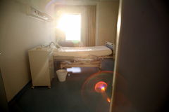 Hospital bed bedroom. Picture of a hospitals bedroom with lighting Stock Image