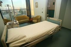 Hospital bed bedroom. Picture of a hospitals bedroom with lighting Royalty Free Stock Images