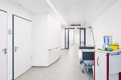 Hospital bed hall. Hospital beds in the hall Stock Photo