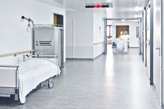 Hospital bed hall Stock Photo