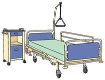 Hospital bed. Hand drawing of a hospital bed Royalty Free Stock Photos