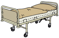 Hospital bed. Hand drawing of an old metal hospital bed Stock Photos