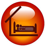 Hospital bed icon. Icon for a person lying in hospital bed with roof Royalty Free Stock Photo