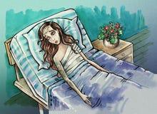 Hospital bed illustration Stock Image