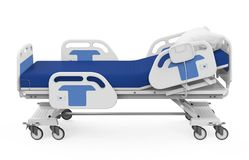Hospital Bed Isolated. On white background. 3D render royalty free illustration