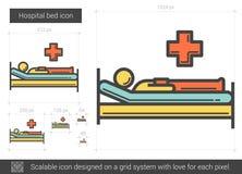Hospital bed line icon. stock illustration
