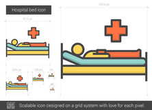 Hospital bed line icon. Stock Photos