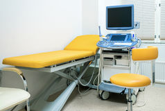 Hospital bed with medical equipments Stock Photos