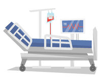 Hospital bed with medical equipments vector illustration. Royalty Free Stock Photo