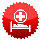 Hospital bed, Red sun sign Stock Image