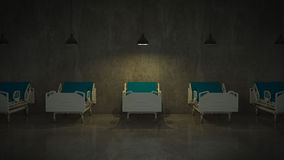 Hospital bed in a room. Render 3D Stock Image
