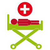 Hospital bed symbol on white background. Vector illustration Stock Photography
