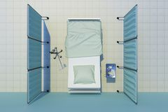 Hospital bed top view. Hospital bed nobody top view. 3d rendering Royalty Free Stock Photo