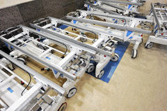 Hospital beds. Corridor with many hospital beds cart Royalty Free Stock Photos