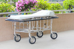 Hospital beds in the hospital corridor. Royalty Free Stock Photography